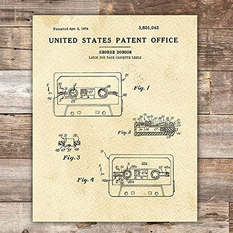 Cassette Tape Patent Print Wall Art - Unframed - 8x10 - Dream Big Printables