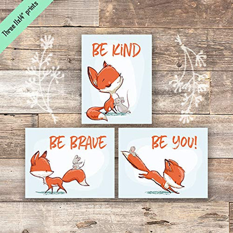 Fox Wall Art Prints (Set of 3) - Unframed - 11x14s