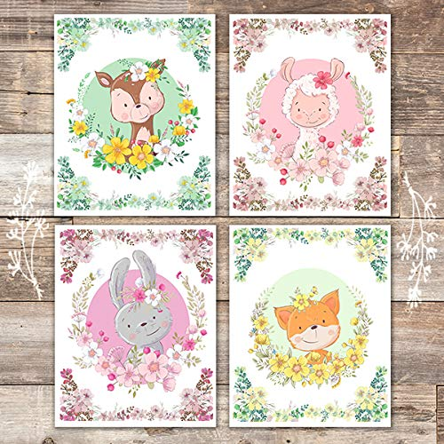 Animals Wreath Art Prints (Set of 4) - Unframed - 8x10s - Dream Big Printables