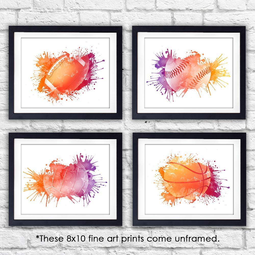 Boys Sports Room Decor Art Prints (Set of 4) - Unframed - 8x10s | Football, Baseball, Basketball, Volleyball - Dream Big Printables