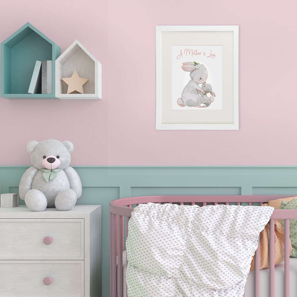 Mother and Child Bunny Wall Art Print - 8x10 | Nursery Decor - Dream Big Printables