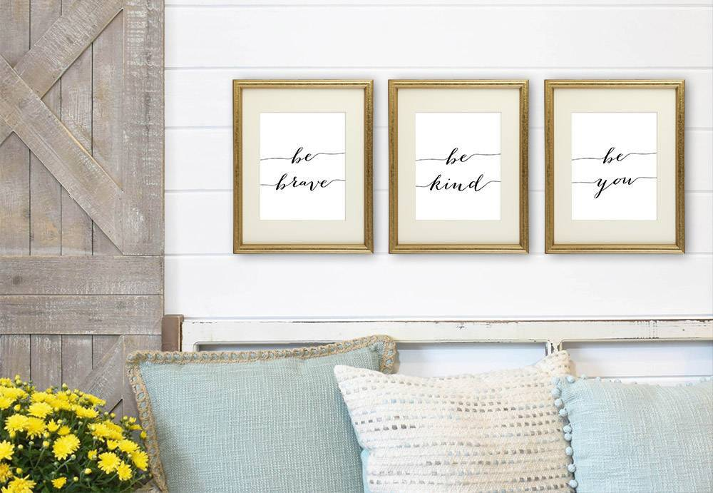 Be Kind Be Brave Be You Art Prints (Set of 3) - 8x10 | Inspirational Wall Art - Dream Big Printables