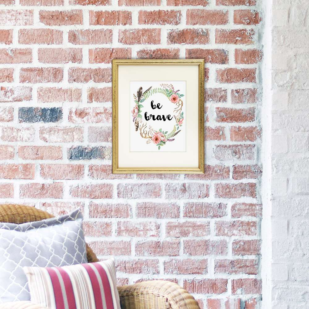 Be Brave Floral Wreath Art Print - 8x10 - Dream Big Printables