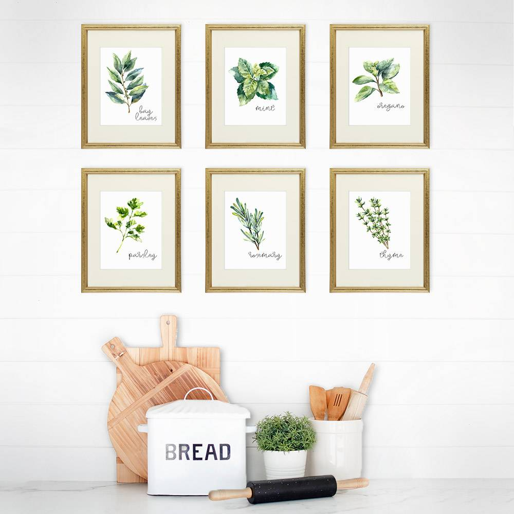 Kitchen Herbs Art Prints (Set of 6) - Dream Big Printables