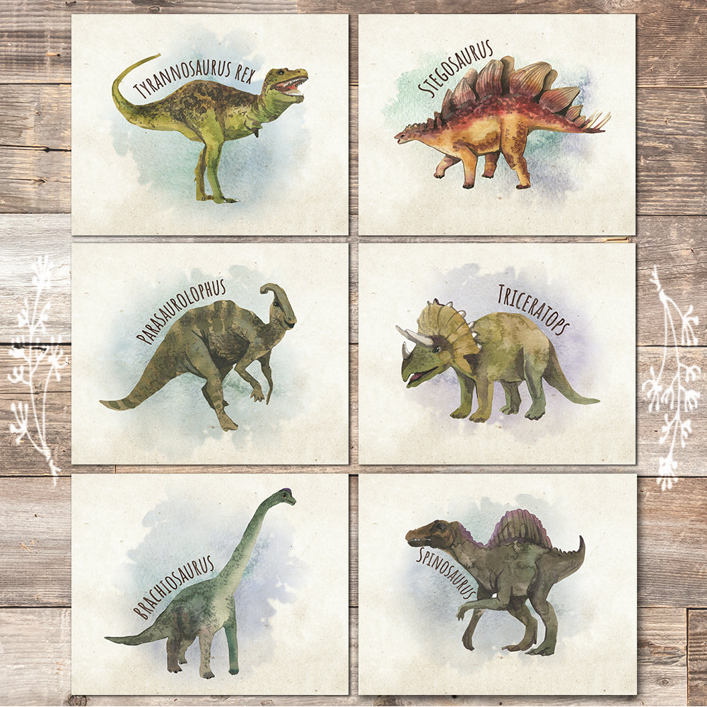 Dinosaur Wall Decor Art Prints (Set of 6) - 8x10s - Dream Big Printables