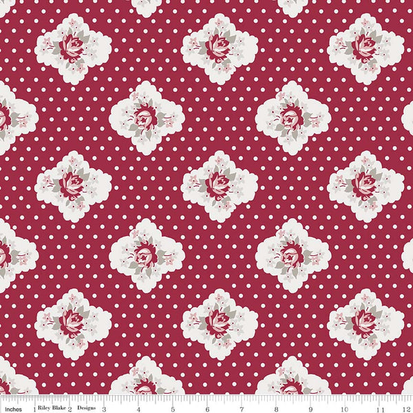 Rustic Romance Red Cameo Print (C7061 Red)
