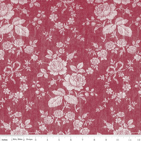 Rustic Romance Dark Red Rose Print (C7063 Dark Red)