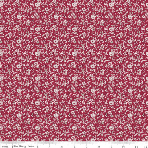 C7066- Rustic Romance Stems Red - Half Yard