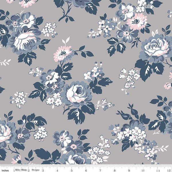 SALE - 4 YARD CUT!  Majestic Gray Main Print (C8140 Gray)