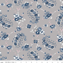 SALE - 5 YARD CUT!  Majestic Gray Vine Print (C8141 Gray)