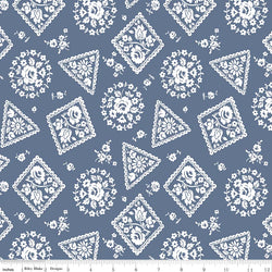 SALE - 5 YARD CUT!  Majestic Blue Stamp Print (C8143 Blue)