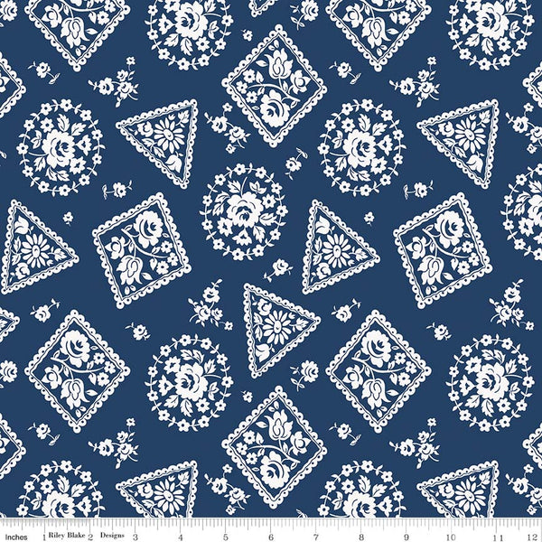 SALE - 5 YARD CUT!  Majestic Navy Stamp Print (C8143 Navy)