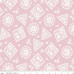 SALE - 5 YARD CUT!  Majestic Pink Stamp Print (C8143 Pink)