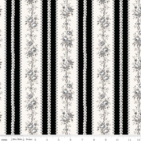 NEW! Black Serenity Rose Stripe Print (C8815 Black)