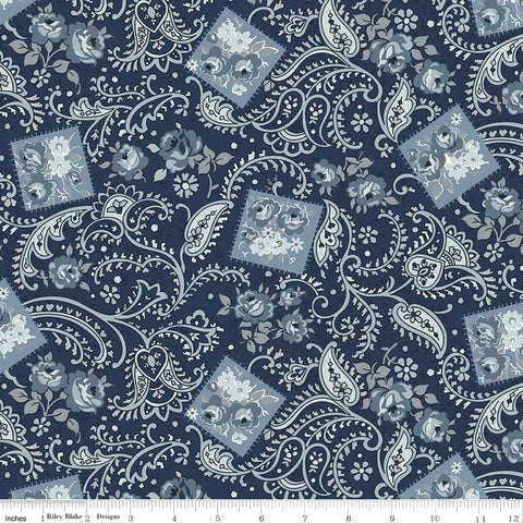 NEW!  Navy Tranquility Paisley Print (C9601 Navy)