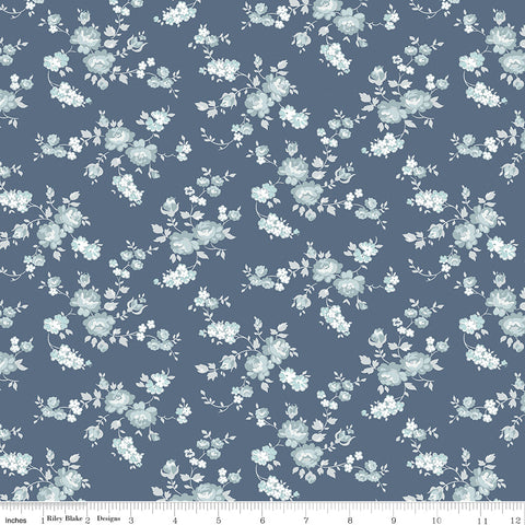 NEW!  Blue Tranquility Rose Spray Print (C9602 Blue)