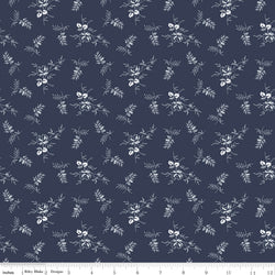 COMING SOON! Navy Tranquility Rose Stems Print (C9604 Navy)