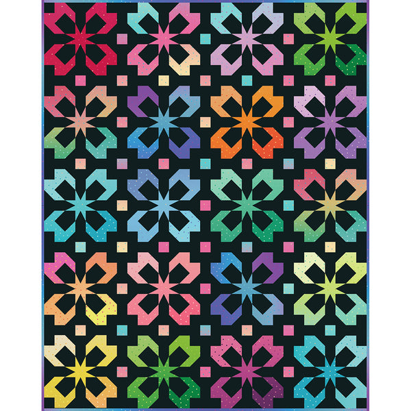 Gem Stones Brights Flutter Quilt Kit (Riley Black Colorway)