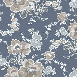 NEW!  Charming Blue Main Floral Print - C6650 BLUE