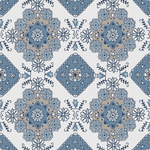 NEW!  Charming Blue Medallion Print - C6653 BLUE
