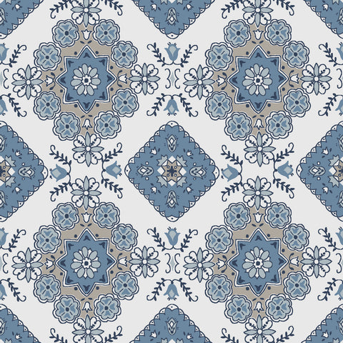 Charming Blue Medallion Print (C6653 Blue)
