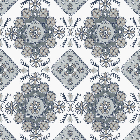 Charming White Medallion Print (C6653 White)