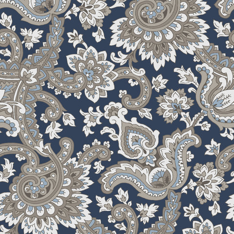 NEW!  Charming Navy Paisley Print - C6652 NAVY