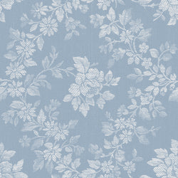 NEW!  Charming Blue Rose Floral Print - C6651 BLUE