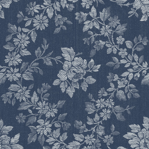 Charming Navy Rose Floral Print (C6651 Navy)