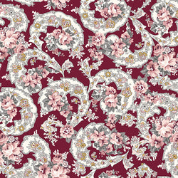 COMING SOON!  Burgundy Exquisite Paisley with Gold Sparkle (SC10701 Burgundy)