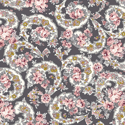 COMING SOON!  Charcoal Exquisite Paisley with Gold Sparkle (SC10701 Charcoal)