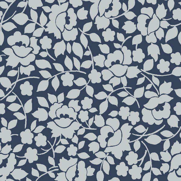 NEW!  Charming Navy Vines Print - C6655 NAVY