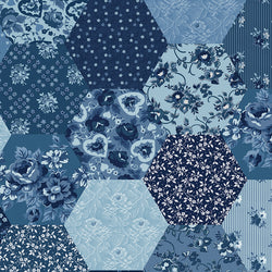 "COMING SOON!  Delightful 108"" Wide Back Blue Patchwork Print (WB10258 Blue)"