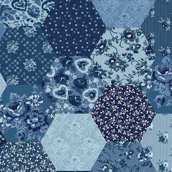 "NEW!  Delightful 108"" Wide Back Blue Patchwork Print (WB10258 Blue)"