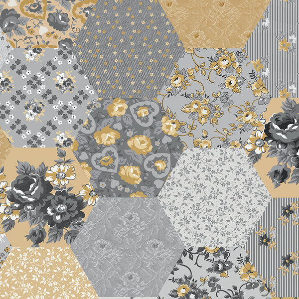 "NEW!  Delightful 108"" Wide Back Gray Patchwork Print (WB10258 Gray)"