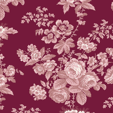 COMING SOON!  Burgundy Exquisite Floral Wide Back (WB10709 Burgundy)