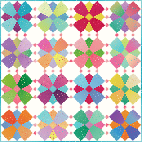 NEW!  Gem Stones Brights Whirly Blooms Quilt Kit (Cloud Colorway)