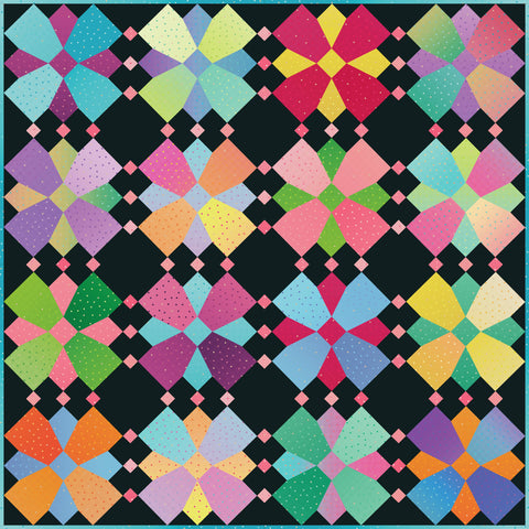NEW!  Gem Stones Brights Whirly Blooms Quilt Kit (Riley Black Colorway)
