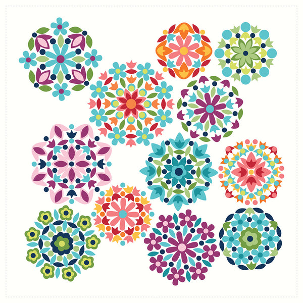 NEW!  Gem Stones Bright Cloud Rosette Panel (P10870-Cloud)