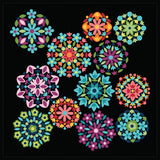 NEW!  Gem Stones Brights Black Rosette Panel (P10870-Black)