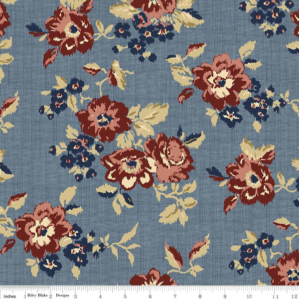 C5880-Faded Memories Blue Main Floral Print - Half Yard