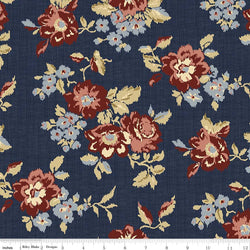 C5880-Faded Memories Navy Main Floral Print - Half Yard