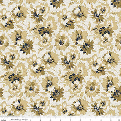 C5881- Faded Memories Gold Petals Print -  Half Yard