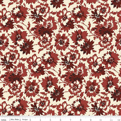 C5881- Faded Memories Red Petals Print -  Half Yard