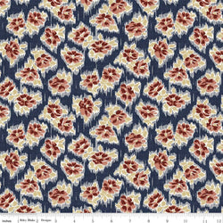 C5882-Faded Memories Navy Tossed Floral Print - Half Yard