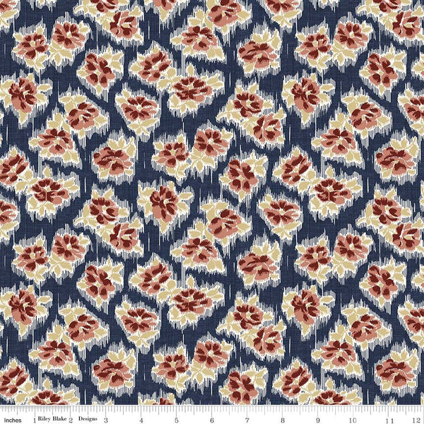 Faded Memories Navy Tossed Floral Print (C5882 Navy)