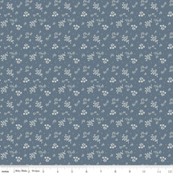 C5883-Faded Memories Blue Bouquet Print - Half Yard