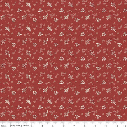 C5883-Faded Memories Red Bouquet Print -  Half Yard
