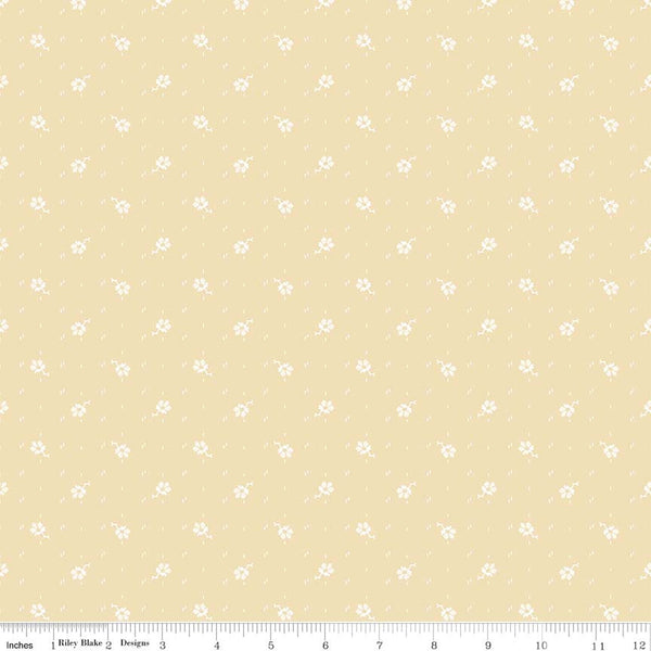 C5885-Faded Memories Cream Small Flower Print - Half Yard