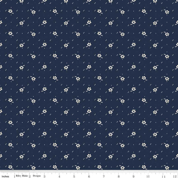 C5885-Faded Memories Navy Small Flower Print -  Half Yard
